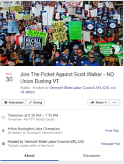 A screenshot of the Facebook Event created by the Vermont State Labor Council, detailing picket logistics.