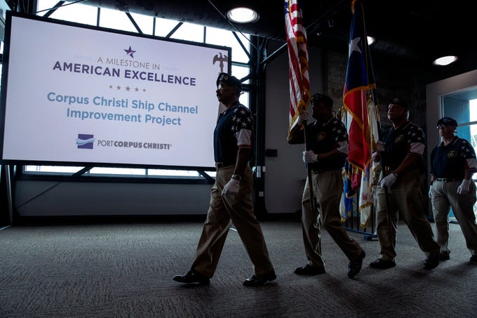 The Veterans Band of Corpus Christi present the colors during  the celebration of the commencement of the Port of Corpus Christi Ship Channel Improvement Project on Wednesday, May 29, 2019 at the Congressman Solomon P. Ortiz International Center. The $380 million project is the culmination of 30 years of discussion to deepen the channel to accommodate larger vessels.