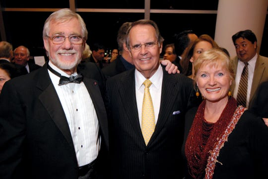 The Silver Safari Holiday Gala for the Art Museum of South Texas was held at the American Bank Center in January 2010. Attendees included (left to right) Kent Ullberg, Al Jones, and Veerle Ullberg, Kent's wife.