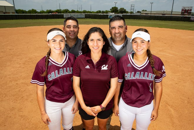 Maddy Flores, from left, Marcos Flores, Teresa Lentz, Marcos Flores and kat Flores. Kat Flores and Maddy Flores play for the Calallen softball team and are coached by their aunt, Teresa Lentz.