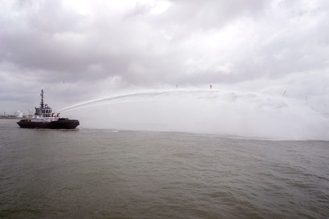 A water salute is performed during the celebration of the commencement of the Port of Corpus Christi Ship Channel Improvement Project on Wednesday, May 29, 2019 at the Congressman Solomon P. Ortiz International Center. The $380 million project is the culmination of 30 years of discussion to deepen the channel to accommodate larger vessels.