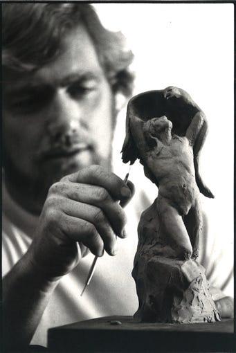 Kent Ullberg works on a model in is studio on Padre Island in November 1978.