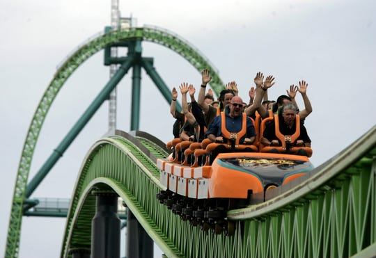 Riders ride Kingda Ka at Six Flags Great Adventure.