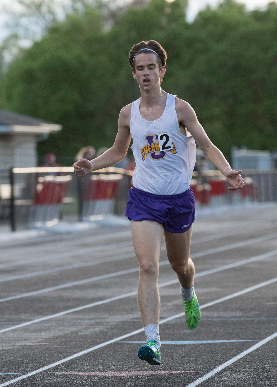 Tucker Markko crosses the finish line after winning  one of his last 3,200 races during the Circleville Invitational on May 3, 2019, in Circleville, Ohio. Markko, who was ranked third in the state in the 3200, won the race with a time of 9:50.07 and was projected to do well in the state meet.