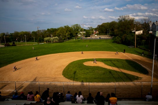 St. Bernard Titans play Lockland at Ross Park in St. Bernard Tuesday, April 23, 2019. Weeks later, the Reds Community Fund started construction at Ross Park to renovate the baseball complex, which will be renamed Frank Robinson Field. It will be the home to St. Bernard-Elmwood Place and Roger Bacon High Schools.