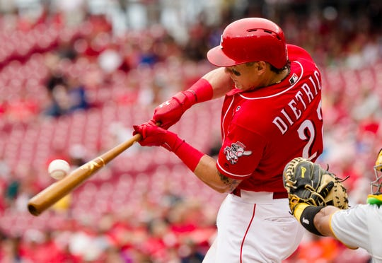 Cincinnati Reds first baseman Derek Dietrich (22) fouls off a ball during the MLB National League game between Cincinnati Reds and Pittsburgh Pirates at Great American Ball Park in Cincinnati on Whednesday, May 29, 2019.