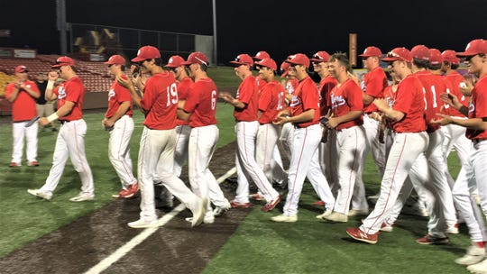 Beechwood celebrates as Beechwood defeated Highlands 12-9 in the Ninth Region championship game May 28, 2019 at UC Health Stadium, Florence KY.