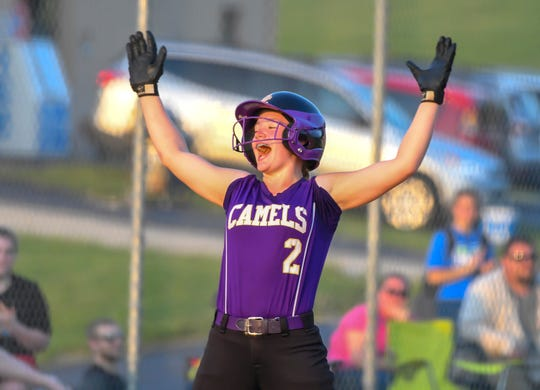 Bella Bastin of Campbell County reacts after hitting a double against Bourbon County in the of Campbell County, KHSAA Region 10 playoff at Campbell County High School, Tuesday, May 28, 2019