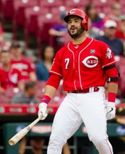 Cincinnati Reds third baseman Eugenio Suarez (7) reacts to a called strike 3 during the MLB National League game between Cincinnati Reds and Pittsburgh Pirates at Great American Ball Park in Cincinnati on Whednesday, May 29, 2019.