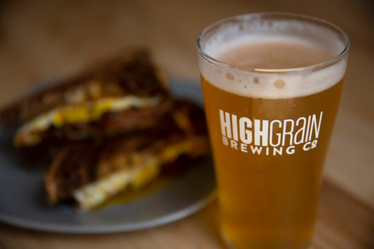 Watch the beer being brewed through the window behind the bar at the new High Grain Brewery in Silverton and then order up a pint of Lilyhamer Helles Lager. It's described as clean, crisp, golden, with a light peppery finish. Maybe pair it with the bologna sandwich, which is served with caramelized onions, fried egg, pickles and mustard on rye bread, prepared by Head Chef Lee Moeller. Owners and founders are Matt Utter, lead brewer, Brian Liscano, operations and Josh Jansen, strategy. Photographed 5/28/2019