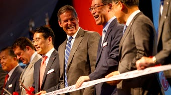 At the grand opening of the LG Clarksville plant where washing machines will be manufactured, Gov. Bill Lee spoke to the attendees.