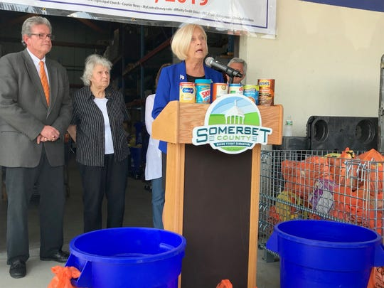 Freeholder Deputy Director Patricia Walsh spoke at the 25th annual Curbing Hunger Month kickoff Wednesday. The Somerset County curbside collection program runs from June 3 to 28.