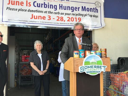 Curbing Hunger Inc. Board President Chuck Knill spoke at the 25th annual Curbing Hunger Month kickoff Wednesday. The Somerset County curbside collection program runs from June 3 to 28.
