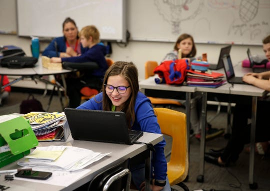 Students work during class in Eagle Grove on May 23, 2019. The Eagle Grove Community School District expanded to its buildings and facilities due to a projected increase families brought to the area as a result of the Prestage Foods plant, which will open south of town.