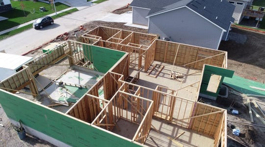 Carlisle High School Building Trades students nearing the completion of framing this year's 3-bedroom 1600 sq. ft. house.