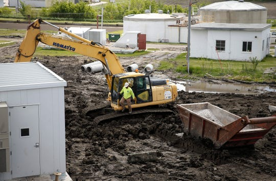 Work continues on the new waste water treatment buildings in Eagle Grove on Thursday, May 23, 2019. As the city prepares for a population surge due to the hundreds of new jobs brought by the Prestage Plant south of town, it's renovating the facility to handle the needs of the population influx.