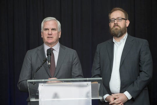 Matt Cullen (left) serves as principal of Rock Ventures. In this photo from 2018, Matt Cullen, left, and Detroit Riverfront Conservancy President and CEO Mark Wallace, announce Michael Van Valkenburgh Associates as the winning firm to design the West Riverfront Parkat the General Motors Renaissance Center in Detroit. Cullen is the Detroit Riverfront Conservancy Chairman.