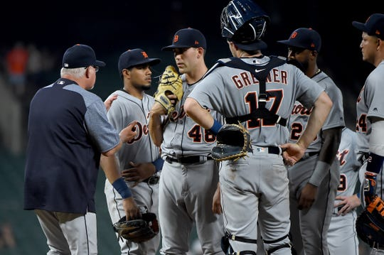 Matthew Boyd of the Detroit Tigers is taken out of the game by manager Ron Gardenhire in the seventh inning against the Baltimore Orioles at Oriole Park at Camden Yards on May 28, 2019 in Baltimore, Maryland.
