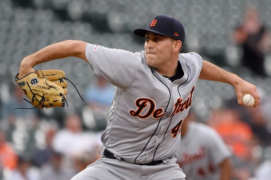Matthew Boyd of the Detroit Tigers pitches against the Baltimore Orioles during the first inning at Oriole Park at Camden Yards on May 28, 2019 in Baltimore, Maryland.