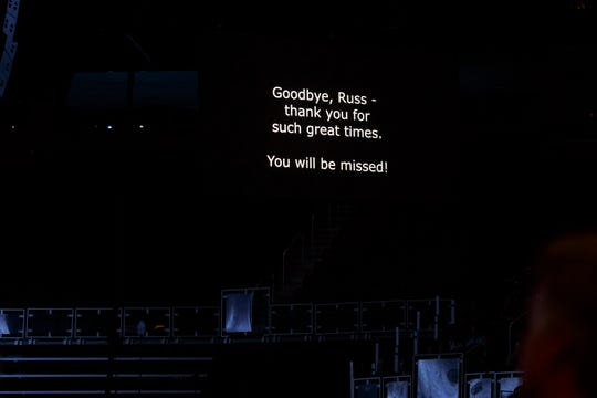 A video screen with a tribute to Russ Gibb before the Who performs on Tuesday, May 28, 2019, at Little Caesars Arena in Detroit, the latest stop on their Moving On! Tour.