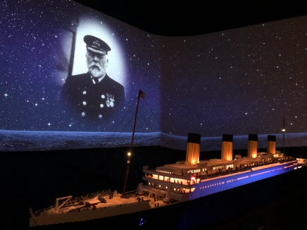A Titanic display made from LEGO bricks is a conversation piece at the Titanic Museum in Pigeon Forge, Tennessee.