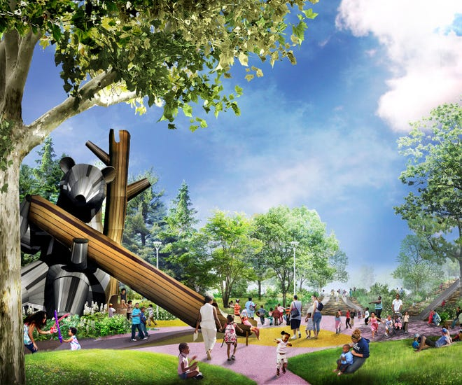 The playground will feature a large 20-foot bear play structure that children can climb up and slide down as well as otters, beavers and even a dragon.
