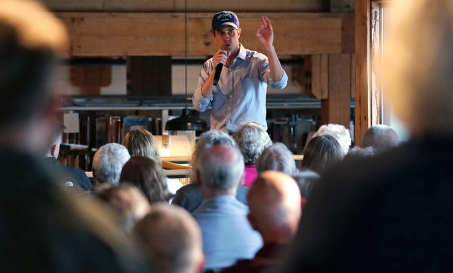 In this May 10, 2019, file photo, Democratic presidential candidate and former Texas Congressman Beto O'Rourke addresses a gathering at a campus library during a campaign stop at Colby-Sawyer College in New London, N.H.
