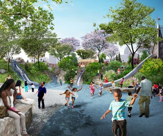 Delta Dental on Wednesday announced a $5 million gift to the Detroit Riverfront Conservancy to construct a five-acre playground on the West Riverfront.