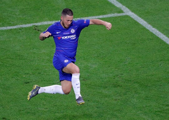 Chelsea's Eden Hazard celebrates after scoring his team's fourth goal during the Europa League Final against Arsenal at the Olympic stadium in Baku, Azerbaijan.