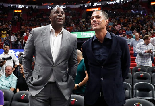 Magic Johnson and Rob Pelinka in 2018.