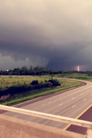 This image made from video provided by James Lang shows a storm system passing through Shawnee, Kan., Tuesday, May 28, 2019.