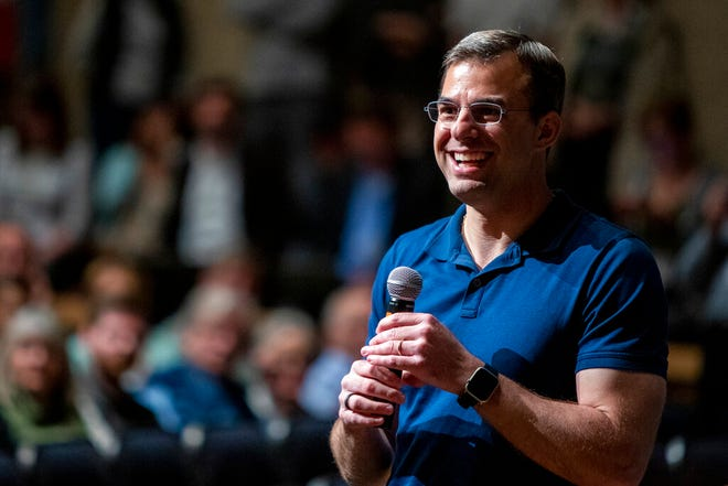 U.S. Rep. Justin Amash, R-Cascade Township, holds a town hall meeting at Grand Rapids Christian High School's DeVos Center for Arts and Worship on Tuesday, May 28, 2019. The congressman came under scrutiny May 18 when he posted a series of Tweets to outline his support for impeachment proceedings.