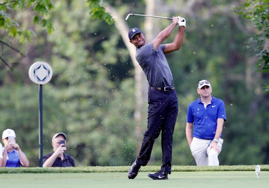 Tiger Woods plays in the pro-am round of the Memorial golf tournament Wednesday, May 29, 2019, in Dublin, Ohio. (AP Photo/Jay LaPrete)