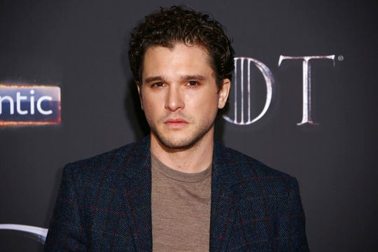 "This April 12, 2019 file photo shows actor Kit Harington at the premiere of the final season of ""Game of Thrones"" in Belfast, Northern Ireland. Harington has checked into a wellness retreat to work on what his representative says are ""personal issues."""
