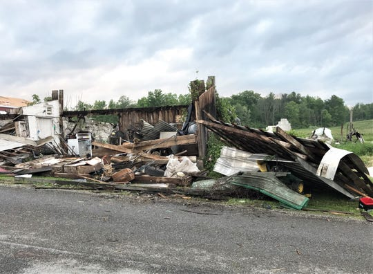 A violent storm destroyed this building Tuesday on Ghent Hill Road in Ulster Township, Bradford County.