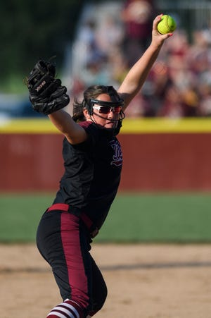 Gibson Southern's Lyndsi Adamson (3) pitches during fifth inning of the IHSAA Class 4A softball regional against the Jennings County Panthers at Gibson Southern High School in Fort Branch, Ind., Tuesday, May 28, 2019. The Titans defeated the Panthers, 6-1, to advance to semi-states.