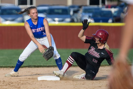 Gibson Southern's Lauren Elpers (12) slides into second base during the fourth inning of the IHSAA Class 4A softball regional against the Jennings County Panthers at Gibson Southern High School in Fort Branch, Ind., Tuesday, May 28, 2019. The Titans defeated the Panthers, 6-1, to advance to semi-states.
