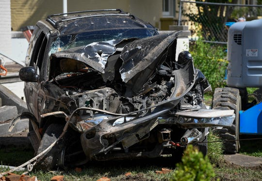 The front of the second vehicle that crashed into the historic home at 414 S.E. Riverside, Wednesday morning, May 29, 2019.
