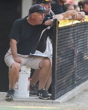 Gibson Southern Head Coach Gary May watches his team take on the Jennings County Panthers in the IHSAA Class 4A softball regional at Gibson Southern High School in Fort Branch, Ind., Tuesday, May 28, 2019. The Titans defeated the Panthers, 6-1, to advance to semi-states.