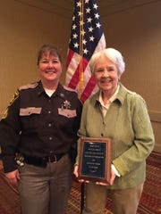 Sheila David of Fond du Lac, right, was recognized by the Wisconsin Jail Association as the 2018 Jail Support Person of the Year. A volunteer since 2007 at Fond du Lac County Juvenile Detention Center, she mentors juveniles and developed two libraries – one for adult inmates and one for juveniles. With David is Staff Sergeant Kelly Schoebel, Juvenile Detention Facility superintendent.