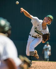 Hustlers Pitcher Nick Durgin was nearly perfect allowing only one hit Wednesday afternoon May 29, 2019. Melbourne Central Catholic High School faced off against Swannee High School in a Class 5A state baseball semifinal game. The MCC Hustlers defeated the Bulldogs by a score of 2-0.