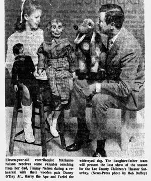 Ventriloquist and Cape Coral resident Jimmy Nelson is pictured with his daughter Marianne Nelson in this archive photo from 1971.