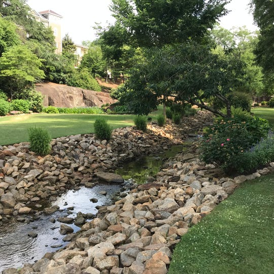 Rock Quarry Garden is the former site of a pre-Civil War granite quarry and is now home to a public garden space.