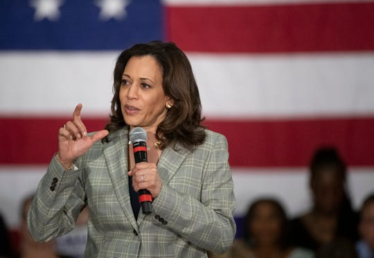 U.S. Sen. Kamala Harris, D-Calif., speaks during a town hall at the West End Community Development Center Wednesday, May 29, 2019.