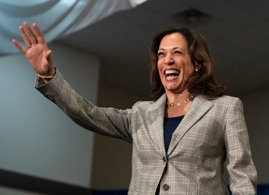 U.S. Sen. Kamala Harris, D-Calif., waves as she takes the stage during a town hall at the West End Community Development Center Wednesday, May 29, 2019.