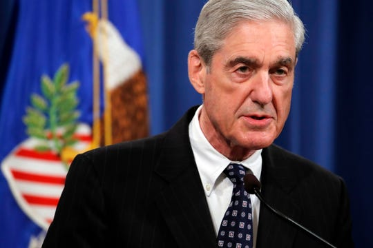 Special counsel Robert Muller speaks at the Department of Justice Wednesday about the Russia investigation.