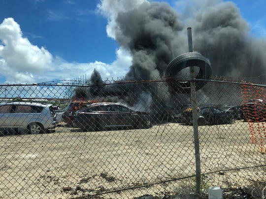 A car could be seen on fire in Harmon on May 29, 2019.