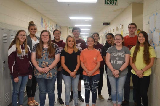 Henderson County High School's May 2019  students of the month are, front row from left: Samatha Lindsey, Kaitlyn Brooks, Olivia Lacer, Madison Durbin, Kaelie Titzer and Emma Humphrey. Back Row: Hannah Wakins, Kelsie Hill, Coleton Evans, Frances Majors, Nadia Stone and Hayden Krampe. Not Pictured: Morgan Bassett.