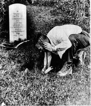 J.C. Ruddell, an employee with South Central Bell, was checking an underground cable near Audubon State Park in 1969 when Gleaner photographer Keith Williams snapped his picture with the tombstone of a Revolutionary War soldier in the background. The photo was reprinted in the June 6, 1969, issue of Life magazine, which at that time had a circulation of about 8.5 million.