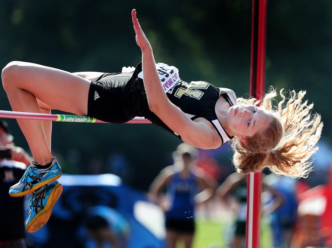 """Noblesville's Shelby Tyler clears 5'10"""" to win the Girls High Jump during the girls IHSAA State Finals at Indiana University's Robert C. Haugh Track & Field Complex in Bloomington, Saturday, June 3, 2017."""